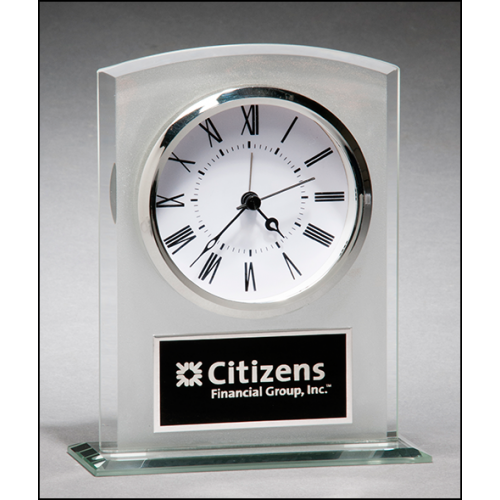 Glass Clock with Frosted Top and Polished Edges and Base - BC985